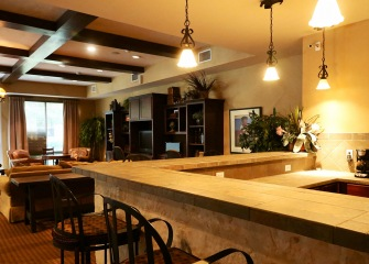 Refugio Place resident kitchen in the clubhouse