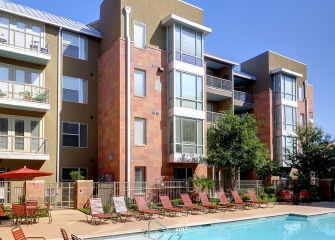 Hemisview four story apartments with a pool