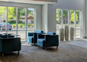 Martha's Vineyard lobby space with large windows