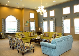 Pecan Ridge clubhouse with a lunge seating area