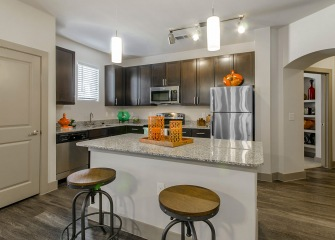 Villas Central Park kitchen with ample cabinetry
