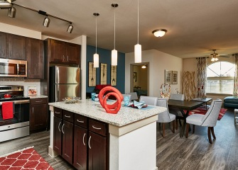 Villaggio open concept kitchen and living room